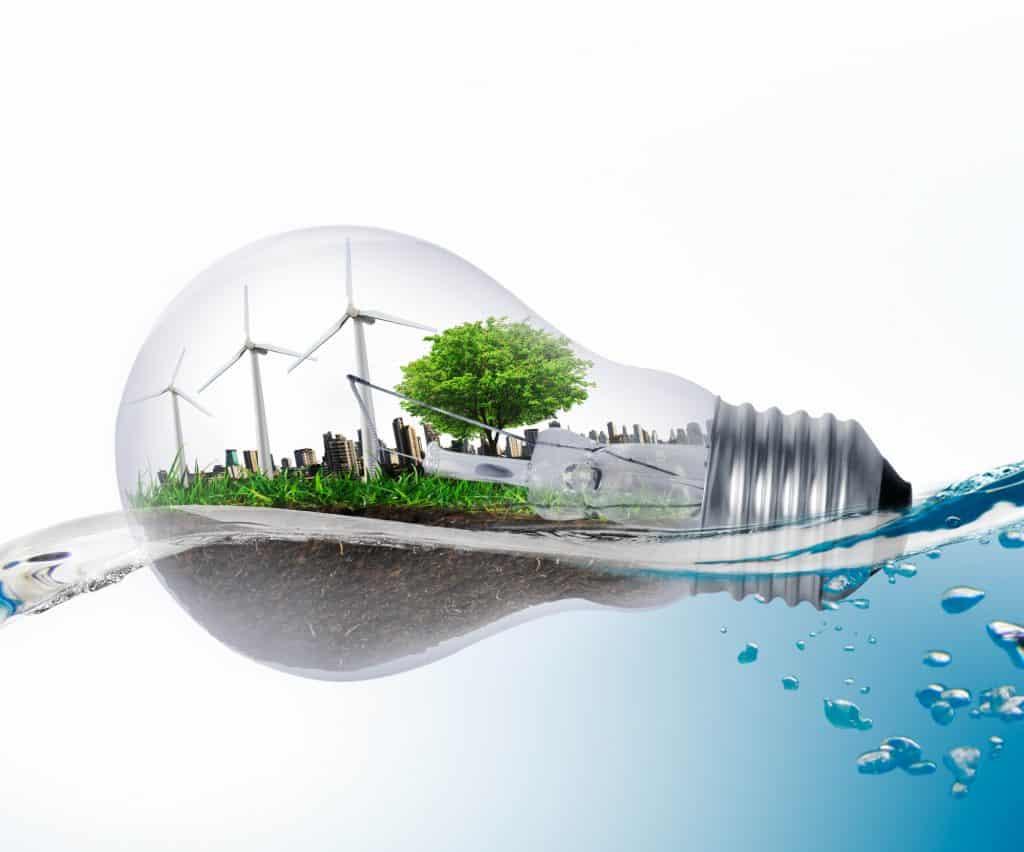 Environment ideas a Light bulb wind water earth