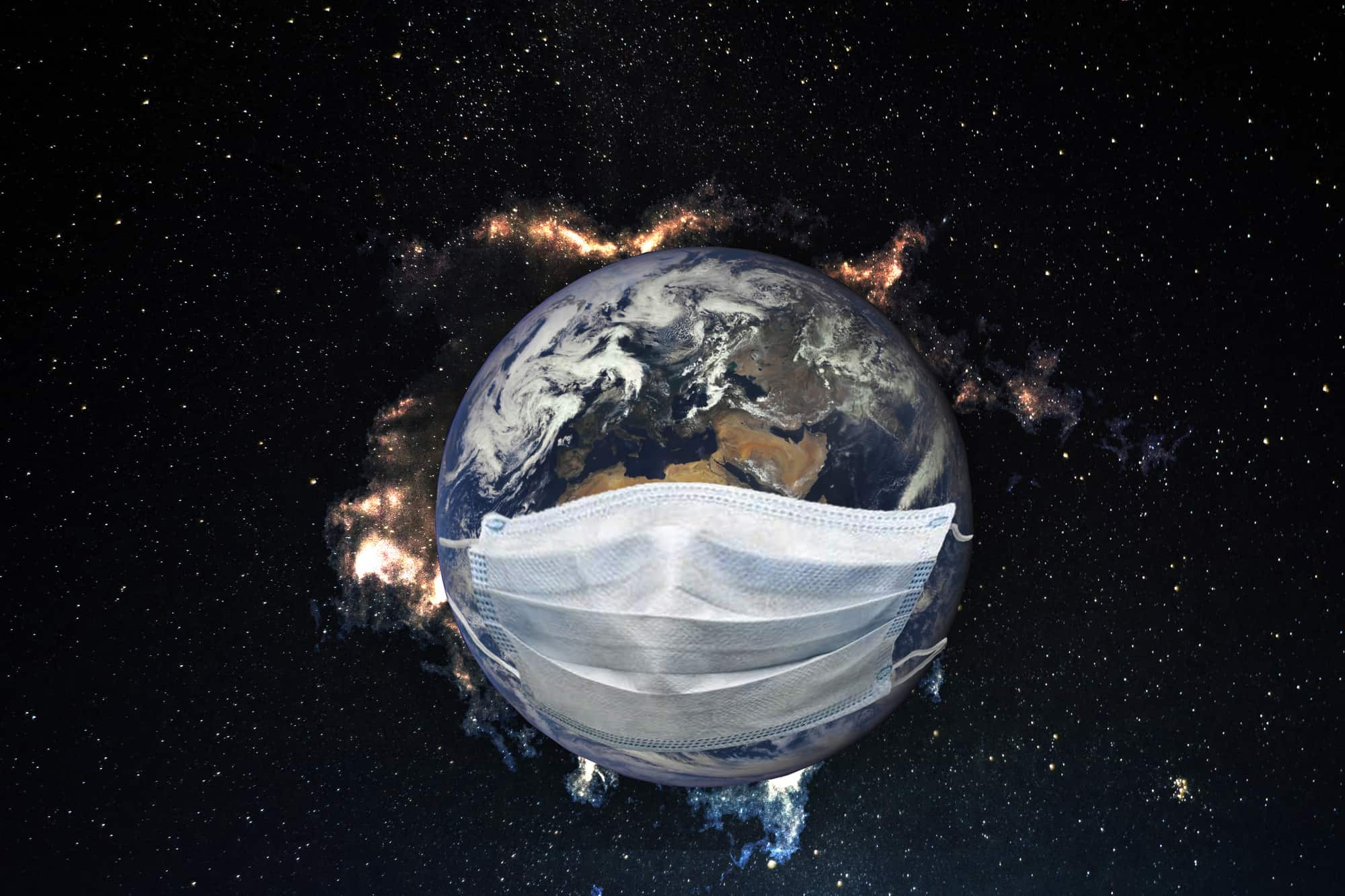 Planet Earth is sick with a virus. Medical mask on the earth. Elements of this image furnished by NASA.